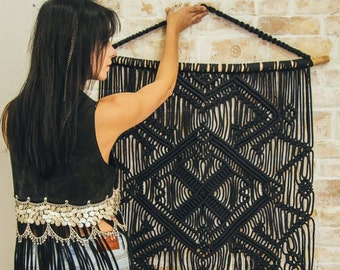 Macrame wall hanging, Black, Large woven wall hanging, Boho wall tapestry, Large wall art, Home decor, Birthday gift for her, Gift for wife