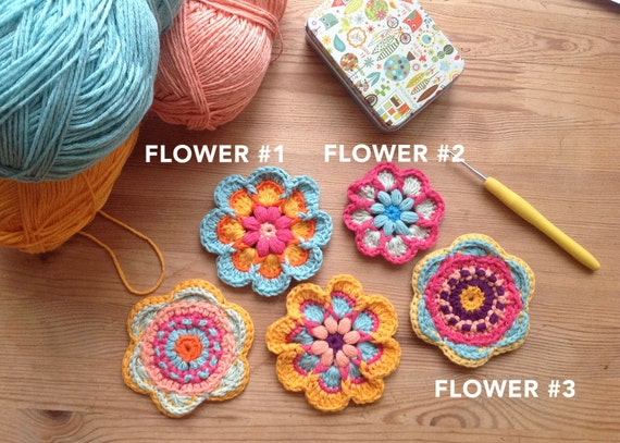 Crochet Flowers Pdf Pattern And Photo Tutorial Set Of 3 For Etsy