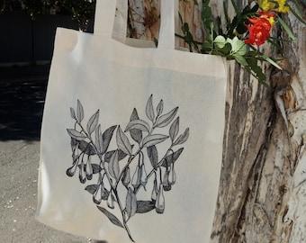 Calico bag, Fuchsia Gum, Tote bag, Australian Native Flowers, Eco friendly bag, Cotton bag