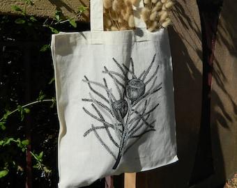 Calico bag, Tote bag, Australian Native Flowers, Eco friendly bag, Cotton bag, Banksia
