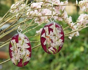 Handmade Earrings With Beautiful Real Flowers