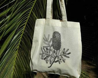 Calico bag, Silver banksia, Tote bag, Australian Native Flowers, Eco friendly bag, Cotton bag