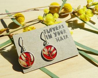Drop medium Earrings with Weeping Broom Flowers, Australian Native Flowers