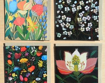 Set of 4 Australian Natives Greeting Cards: Spring Flowers, White bearded flowers, Evening flower, Imaginary flowers