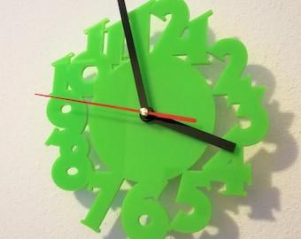 Acrylic wall clock, acid numbers, laser cut, acrylic plastic