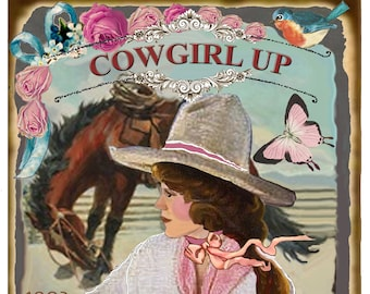 08ef6044eaf French Vintage Grain Sack Style COWGIRL UP Large Image Printable Download  Horse Fabric Transfer Pillow Sign png jpg
