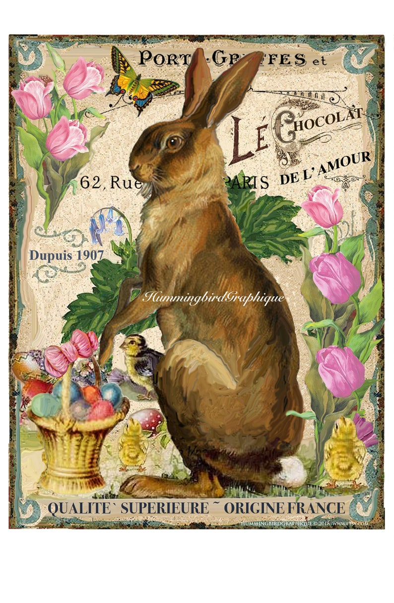 French Farm Grain Sack Style EASTER BUNNY TULIPS Large Image image 0