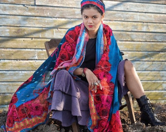 """Shawl or scarf inspired by Frida Kahlo, """"The Woman Who Gave Birth to Herself"""""""