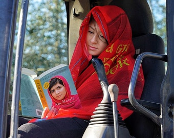 A Girl With a Book: Shawl or scarf inspired by education activist, Malala Yousafzai