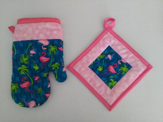 Oven mitt /& Potholder Set PINK FLAMINGO//BEACH HUTS TROPICAL Towel