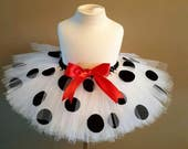 Dalmatian Tutu Halloween costume White tutu polka dots tutu dog tutu infant tutu toddler tutu photo prop birthday tutu girls tutu baby tutu