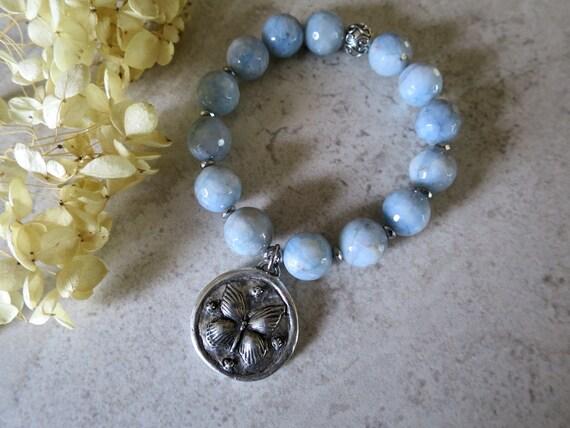 Stackable Butterfly Charm Beaded Bracelets