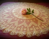 Large round crocheted tablecloth