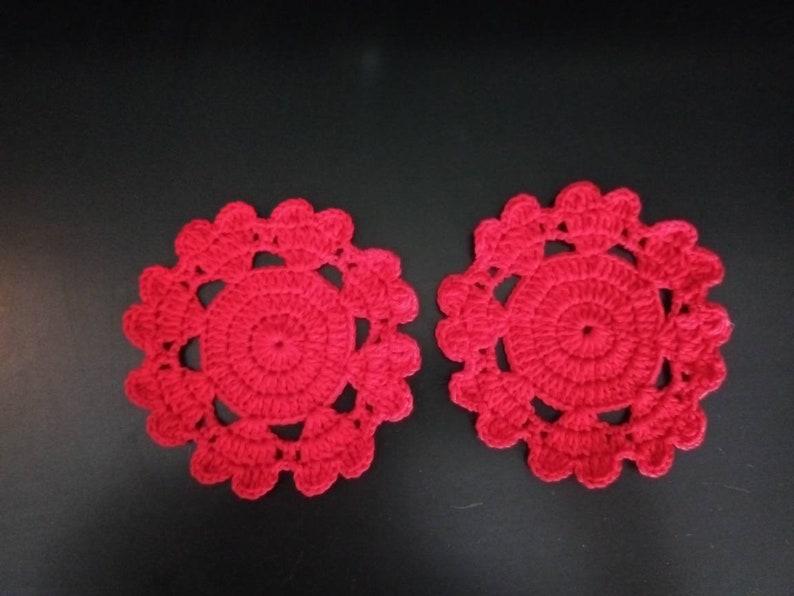 Red  heart crochet coasters