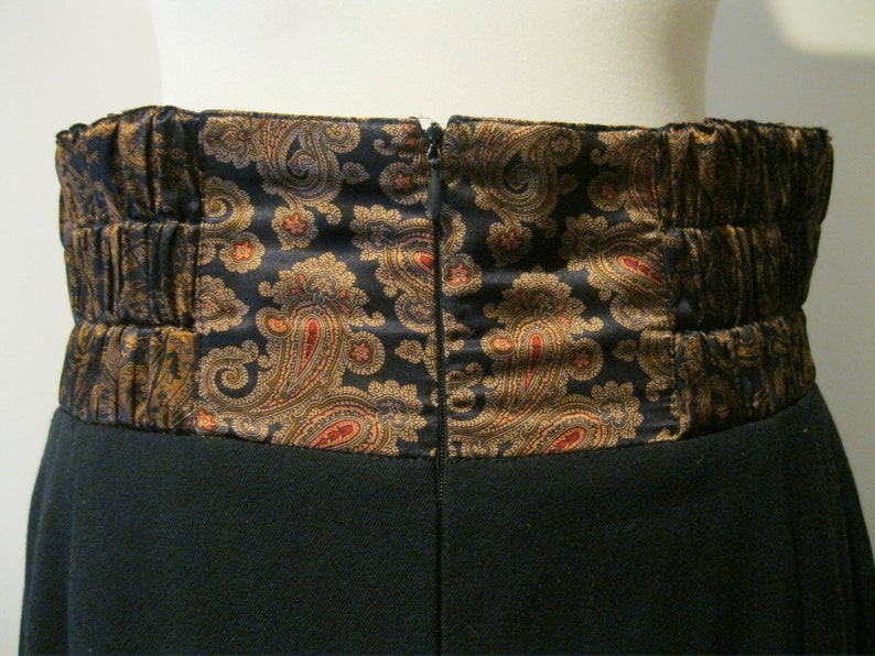 ESCADA by Margaretha Ley Vintage Skirt 80s Black Wool with Silk Paisley Waistband Size 38 UK 12