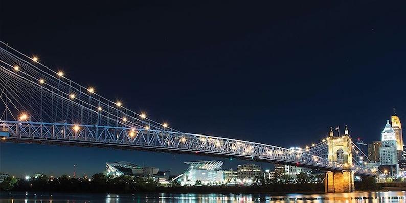 John A. Roebling Suspension Bridge at Night image 0