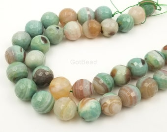 White /& Brown Cracked Fire Agate Faceted Round Beads Size 12mm 14mm 15.5 Strand
