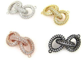 Pave 3 Rings links Connector,Open Oval Link Connector; MPC00001 Micro Pave CZ Infinity 3 Oval  Link Connector