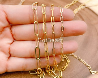 Chunky Chain 18K Gold Plated Paperclip Chain by Yard Roll Chain for Necklace Bracelet Jewelry Making #421 Link Cable Elongated Chain