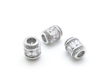 Micro Pave CZ Pandora Large Hole Column Beads, Micro Pave Cubic Zirconia Findings, Large Hole Beads; MPPB000010