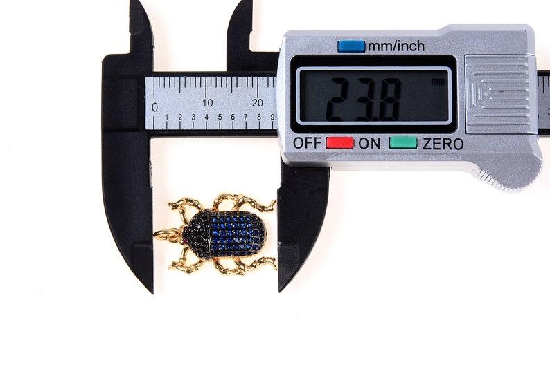 Blue Sapphire CP166-J619 Cubic Zirconia Pave PendantCharm Scarab Pendant Necklace Pave Pendant 24x16mm CZ Pave Beetle Charm Pendant