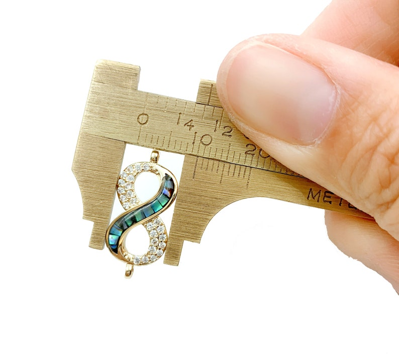Infinity Connector 22x10mm Cubic Zirconia 14K Gold Filled Infinity Abalone Shell Connector Charm CN294 CZ Micro Pave Connectors