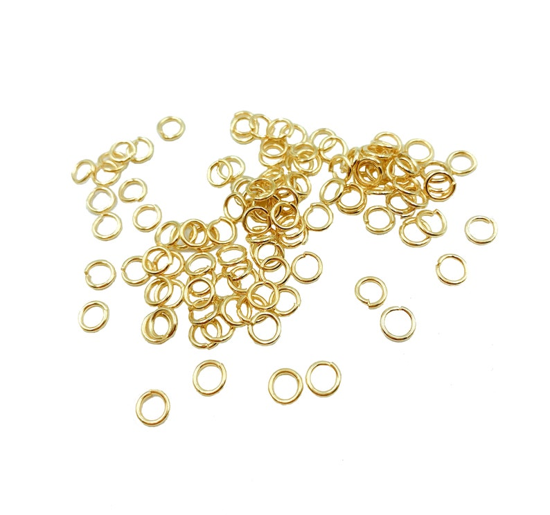 23 Gauge 4mm 5mm DIY002-A813 Gold Plated Jump Rings 100PCS 4mm 5mm Open Jump Ring Jump Rings Bulk Gold Jump Rings 22K Gold Plated