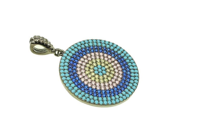 1pc3pcs Turquoise CP120 and Champagne Cubic Zirconia CZ Micro Pave Round Pendant with Clear CZ Bail 27x25mm Sapphire Blue Rose