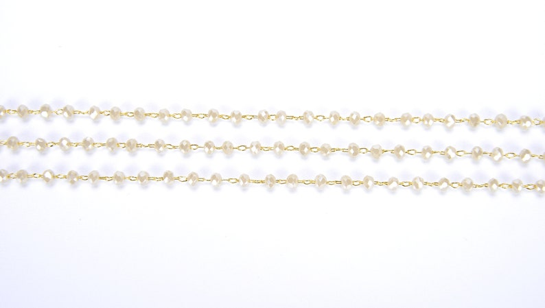 13 Feet White Rondelle Faceted Beaded Chain 3mm CH025-A1230 Bulk Chain 14K Gold Filled Beaded Chain