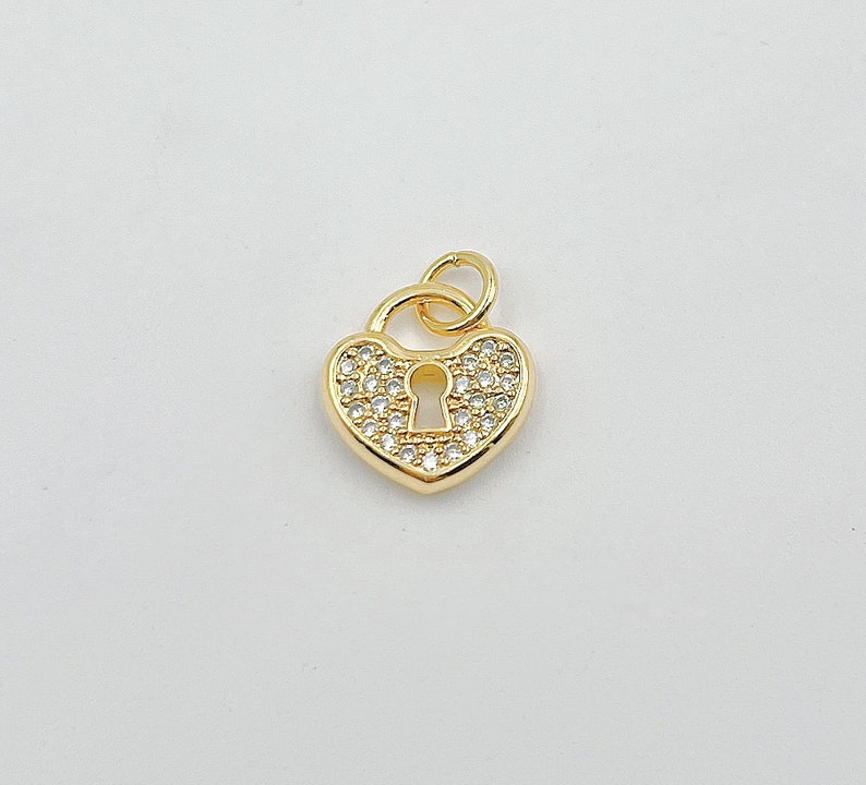 18K Gold Filled Dainty Heart Padlock Charm with Micro Pave Cubic Zirconia Heart Lock Charm for Necklace Bracelet Jewelry Making CP1348
