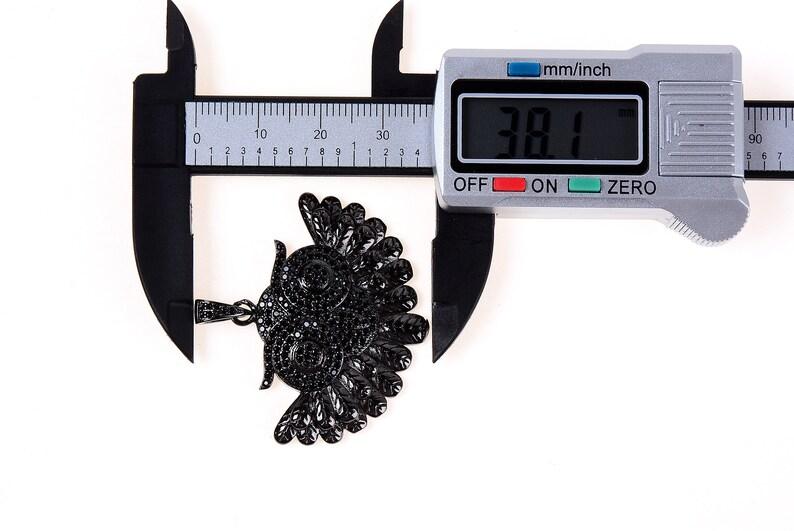 CP218 1pc 3pcs Jet Black CZ Cubic Zirconia Micro Pave Owl Pendant with CZ Pave Bail 38x41mm