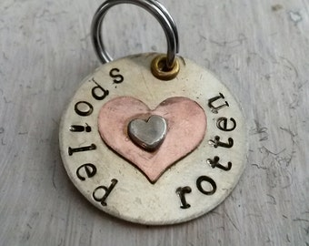 Spoiled rotten pet charm - charm for pet collar - mixed metal  charm - unique pet charm - gift for pet lover - gift for pet - pet supplies