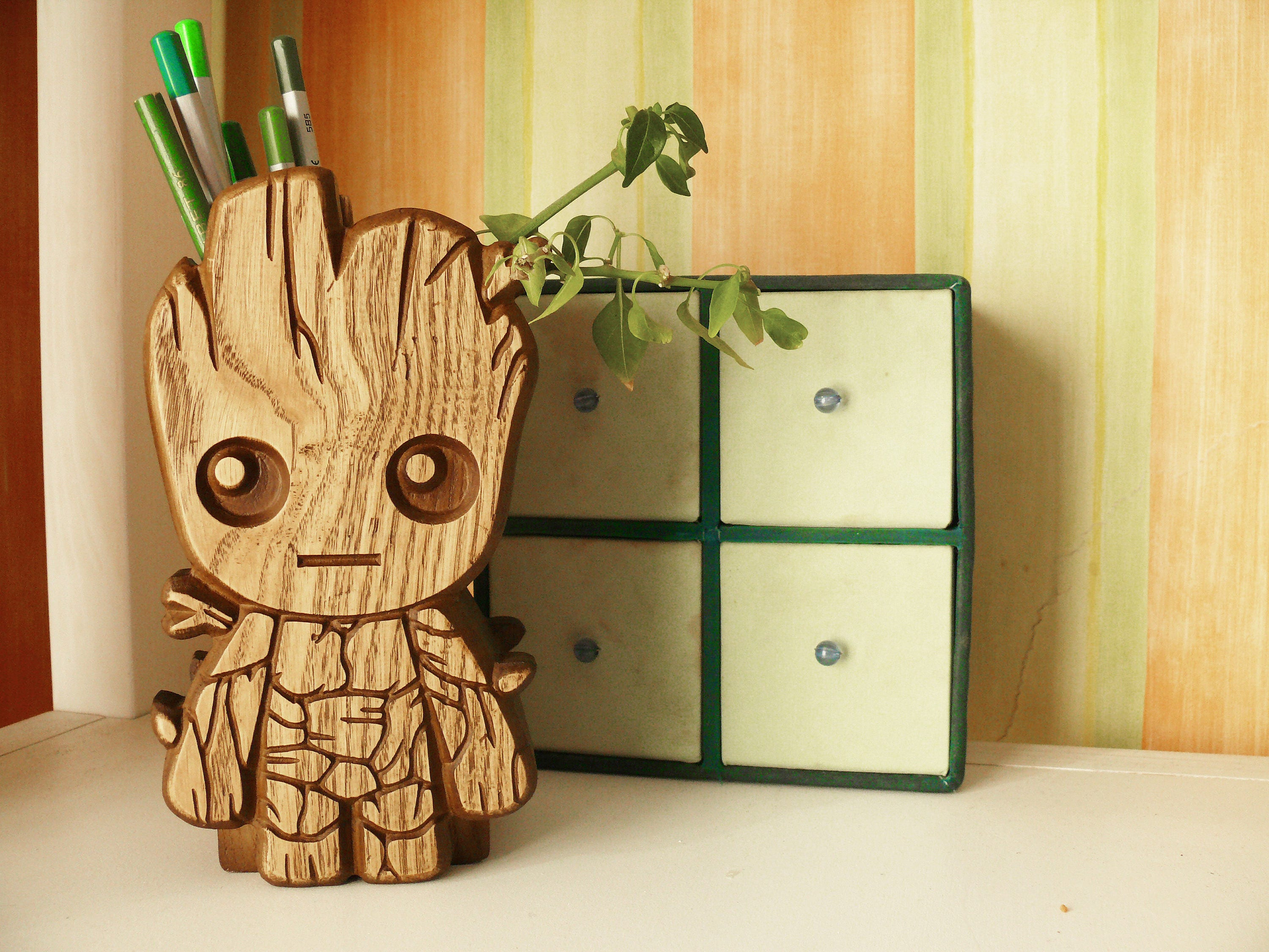 Wooden Baby Groot Pen Holder Baby Groot Holder Carved Baby Groot Holder Stand Desk Baby Groot Pencil Holder Guardians Of The Galaxy