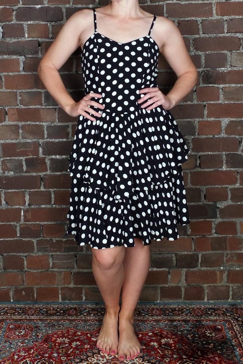 Vintage Polka Dot Dress Ruffles Ra Ra