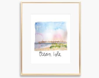 Ocean Isle Watercolor Painting Print Wall Art Coast Beach Decor Pier North Carolina Sunset