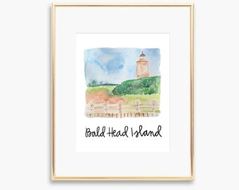 Bald Head Island Lighthouse Watercolor Painting Print Wall Art Coastal Decor North Carolina Beaches BHI