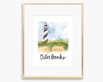 Outer Banks OBX Watercolor Painting Print Wall Art Bodie Island Lighthouse North Carolina Beaches Coastal Decor Cape Hatteras Ocracoke