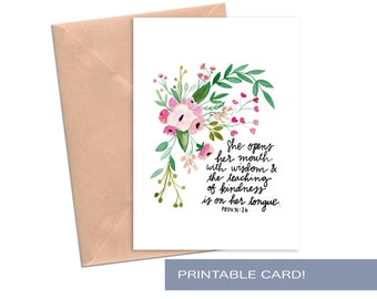 Mother's Day Cards for Mom Mother in Law Proverbs 31 26 She Opens Her Mouth With Wisdom And The Teaching of Kindness Is On Her Tongue