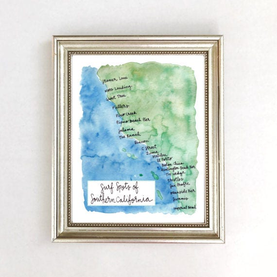 Map Of Surf Spots Surf Surfing Surfer Art Print Decor Etsy