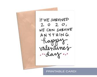 Funny Printable Valentines Day Card Her Him Husband Wife Boyfriend Girlfriend Quarantine 2020 Covid Print At Home Digital Download