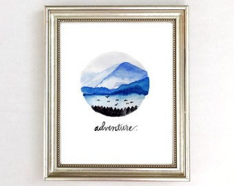 Mountain Decor, Mountain Art Print, Watercolor Mountains Art Print, Adventure Art Print, Mountain Painting, Mountain Nursery Art Decor Blue