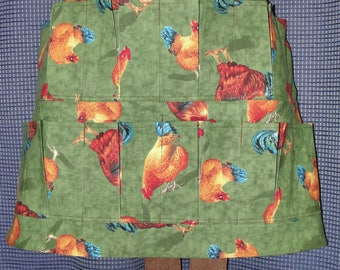 Egg Gathering Collecting Apron 12 Pockets Berkshire Rooster