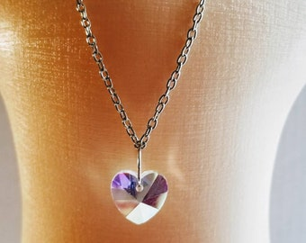 Doll size necklace. Clear Heart crystal necklace.
