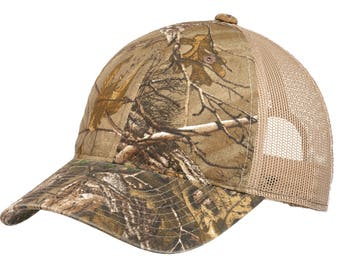 Unstructured Camouflage Mesh Back Cap- Custom Embroidery- Embroider With  Name Text Monogram- Perfect Outdoor camo hat 90f11d478e35