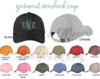 fa1bd3c55707f8 Custom Embroidery Baseball Cap- Personalized Pigment Dyed Hat with  Monogram, Name or Other Text- Dad Hat- Washed Cap