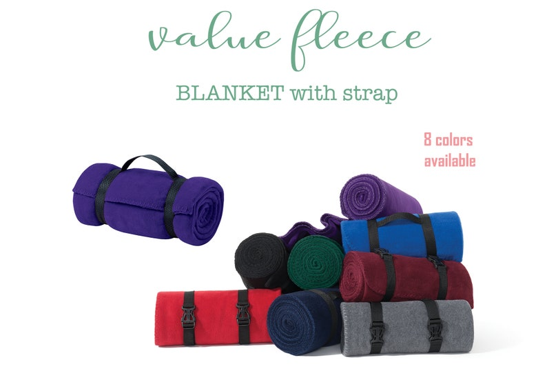 Personalized Fleece Blanket With Custom Embroidery- Personalize with Name,  Monogram, or Text- Easy-to-Carry Strap- Perfect Throw