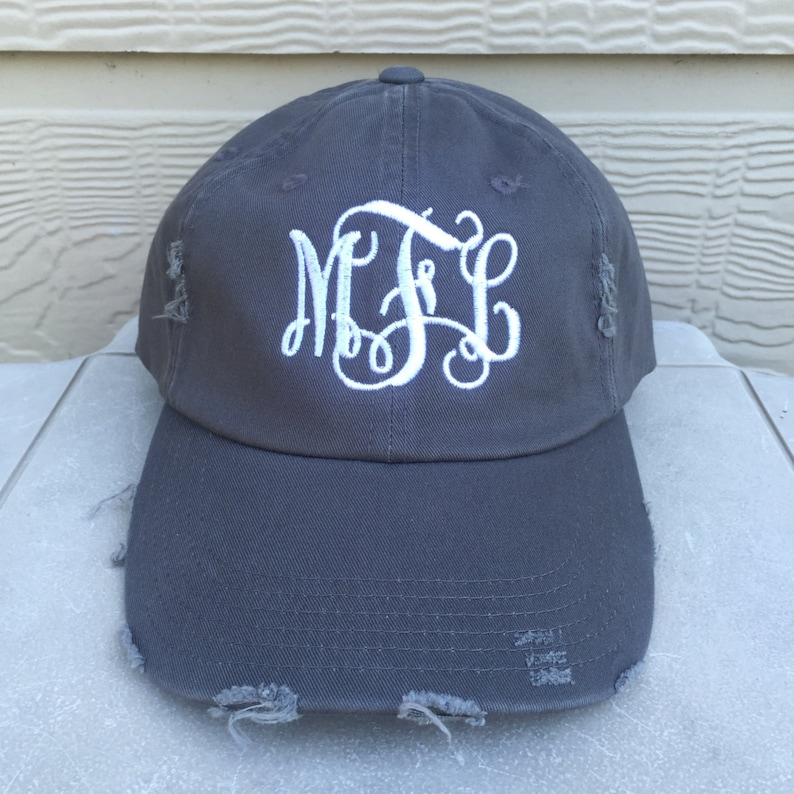 c055ab602 Custom Embroidered Hat, Embroider Name Logo or Text, Monogram Initials,  Personalized Unstructured Cap Dad Hat Distress Hat with Metal Slider