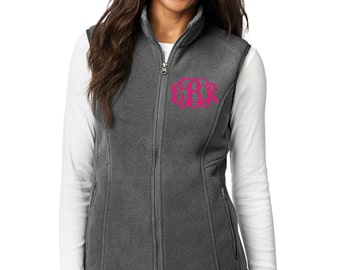 Personalized Eddie Bauer Fleece Vest- Embroidery Monogrammed Ladies Fleece Vest- Woman's Full Zip Up With Name Initials or Logo- Valentines