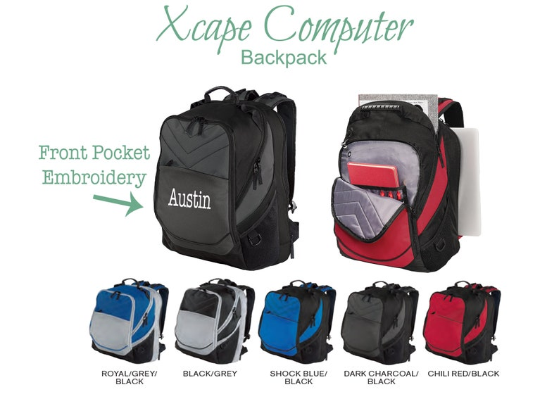 Personalized Backpack- Custom Embroidery Bag- School Travel Sport-  Customized Name Initials Text Logo- Xcape 17