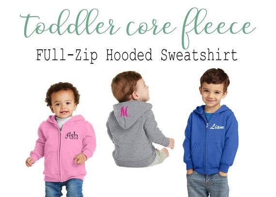 Custom Toddler Core Fleece Full-Zip Hoodie Sweatshirt Custom Children/'s Sweater Toddler Customized SweatshirtKids Personalized Sweatshirt